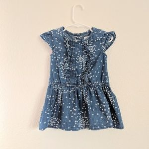 Old Navy Denim Dress with White Hearts